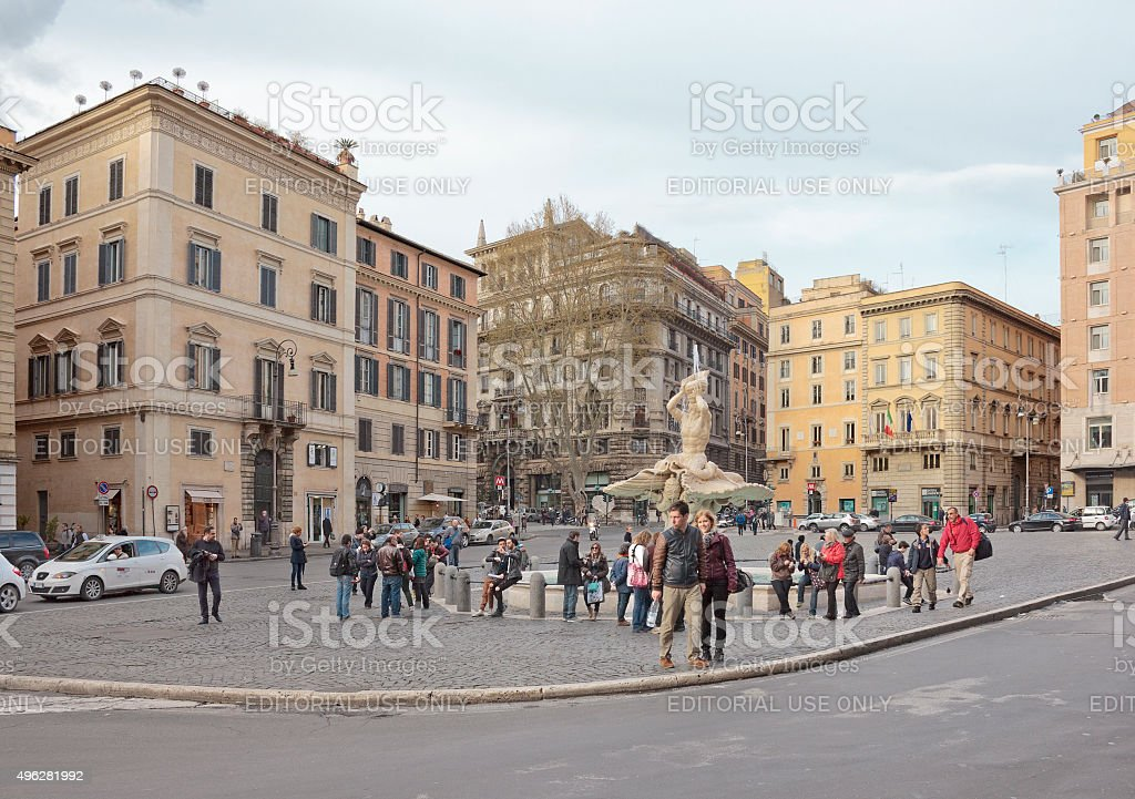 Triton Fountain on Piazza Barberini in Rome stock photo