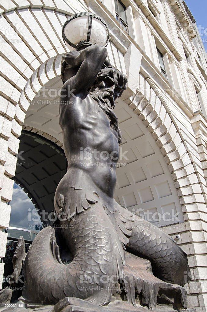 Triton lampost, London stock photo