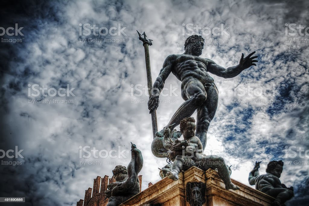 Triton statue in Bologna stock photo
