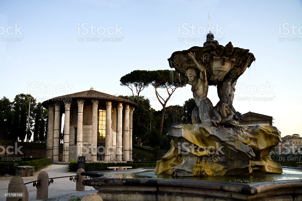 Tritons fountain and Temple of Ercole in Rome stock photo