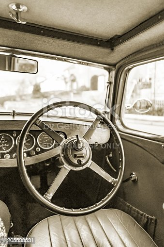 2019 - Triumph Gloria 1934 tourer classic car. This is a pre second world war car and is the oldest of its marque registered in the UK still running. It is registered with the Triumph Pre -1940s owners club and is seen near Saltburn North Yorkshire. This is a view of the interior whilst parked.