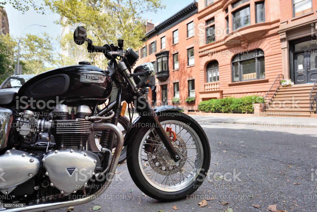 Triumph Motorcycle on street, NYC stock photo