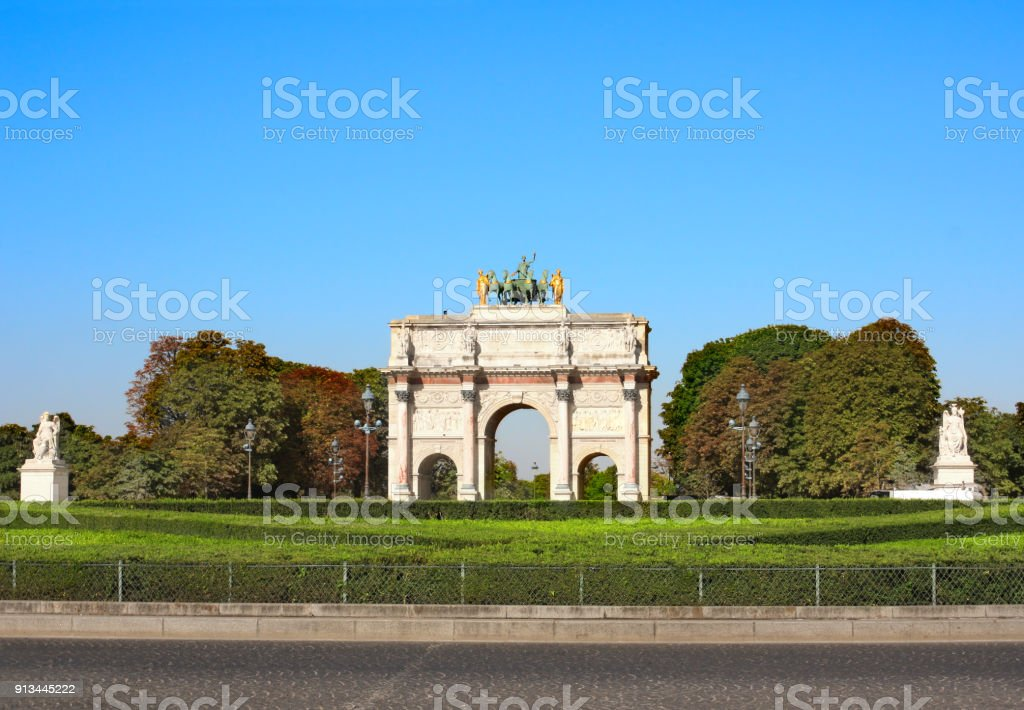 Triumphal Arch at the entrance to Tuileries gardens, Paris stock photo