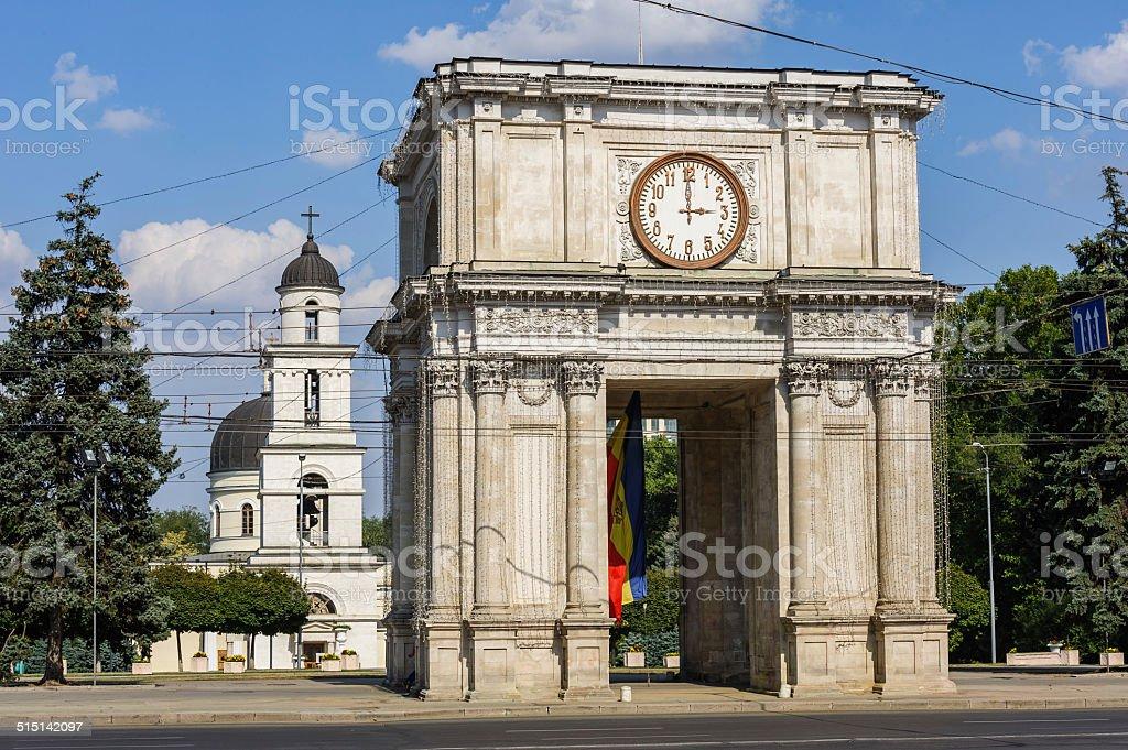 Triumphal Arch in Chisinau, Moldova stock photo