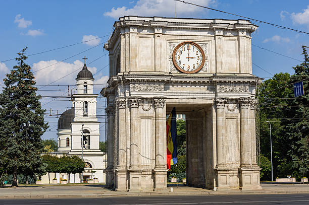 triumphal arch in chisinau, moldova - moldova stock pictures, royalty-free photos & images