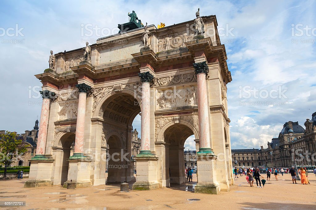 Triumphal Arch in front of  the Louvre museum. Paris, France stock photo