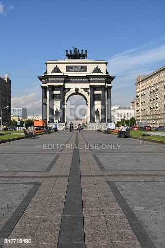 istock Triumphal arch in Moscow to celebrate the victory over Napoleon 842718490