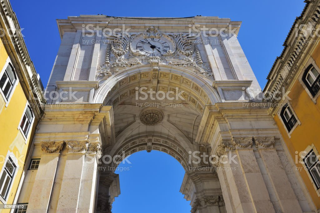 Triumphal Arch in the Commerce Square, Lisbon, Portugal stock photo