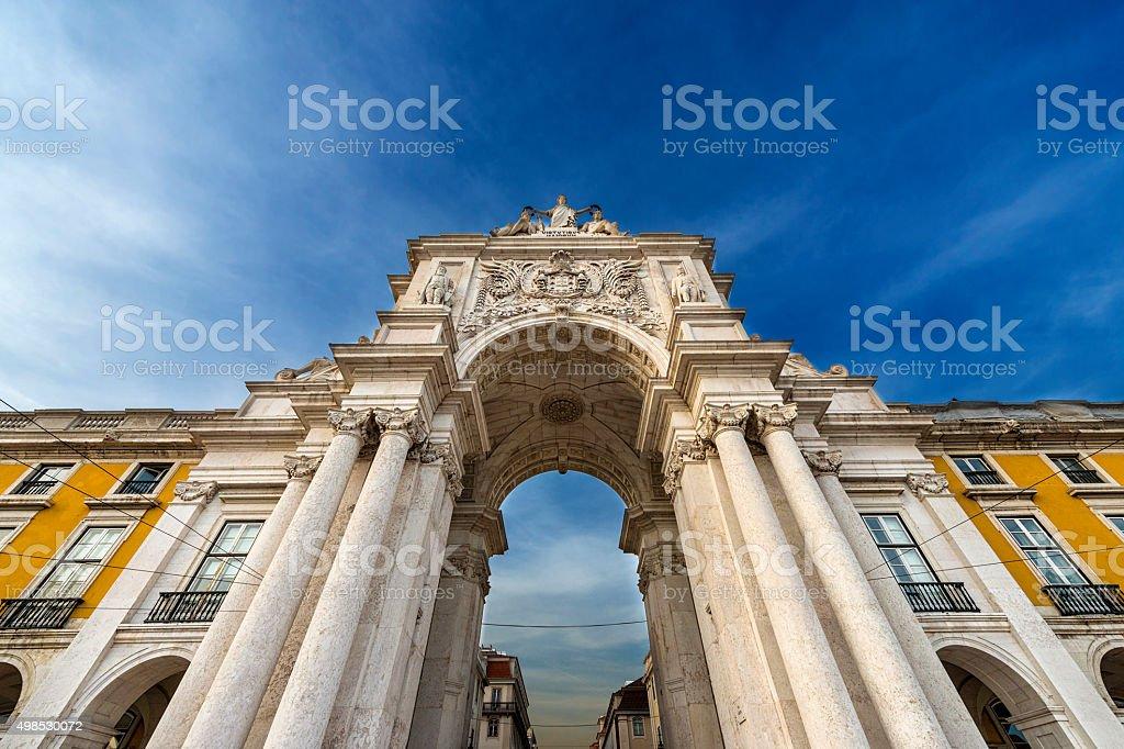 Triumphal Arch in the Praca do Comercio in Lisbon, Portugal stock photo