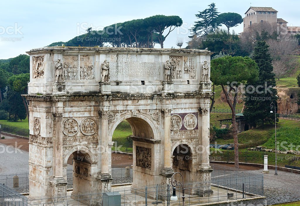 Triumphal Arch of Constantine in Rome. stock photo