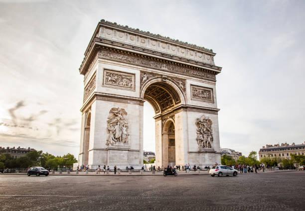 Triumphal Arch of the Star (Arc de Triomphe de l'Etoile) in Paris, France stock photo