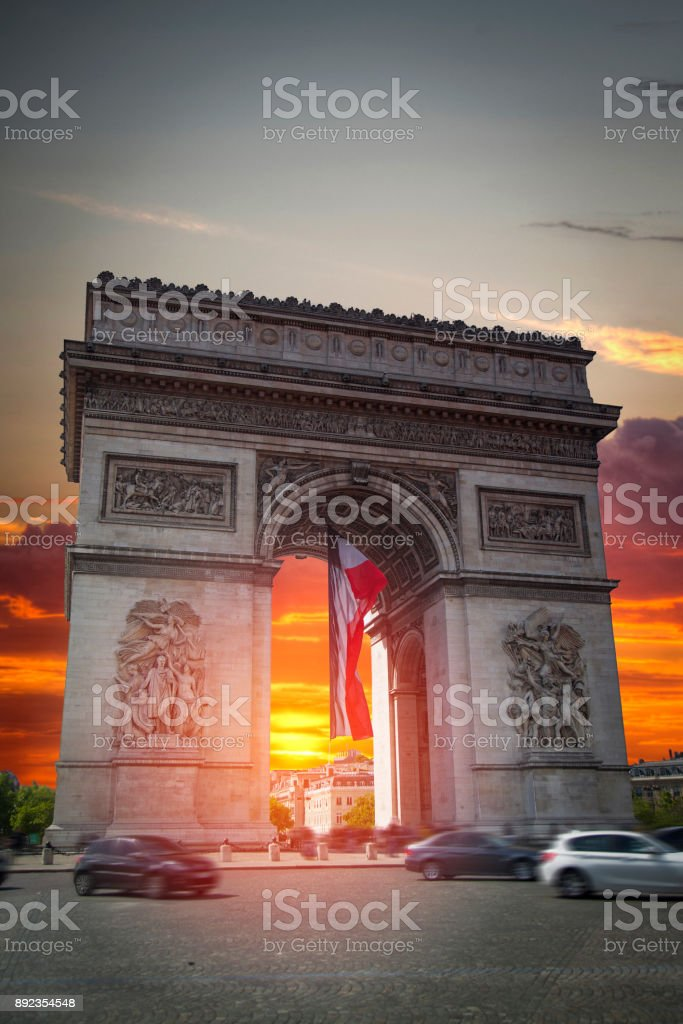 triumphal arch on the Champs Elysées stock photo