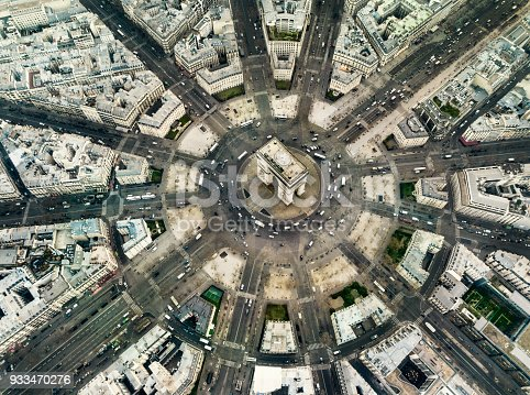 Aerial view of Arch de triomphe