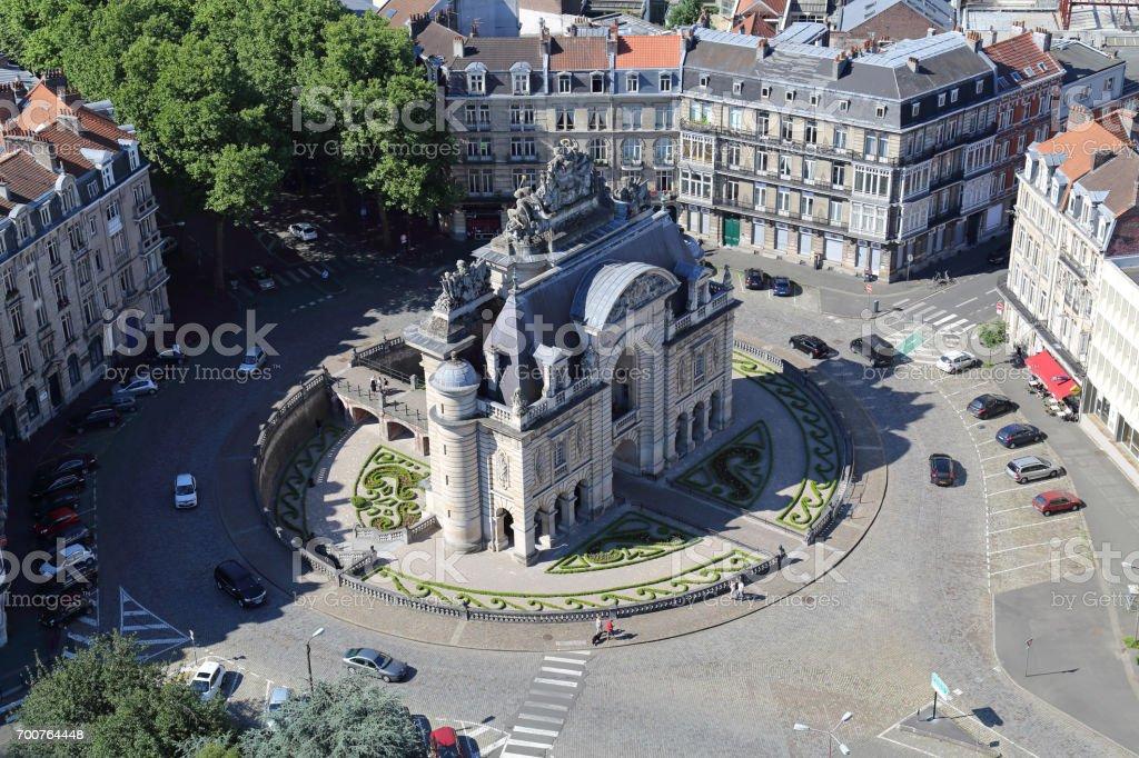 Triumphal arch Porte de Paris in Lille, France stock photo