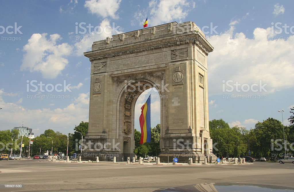Triumphal Arch with flag stock photo