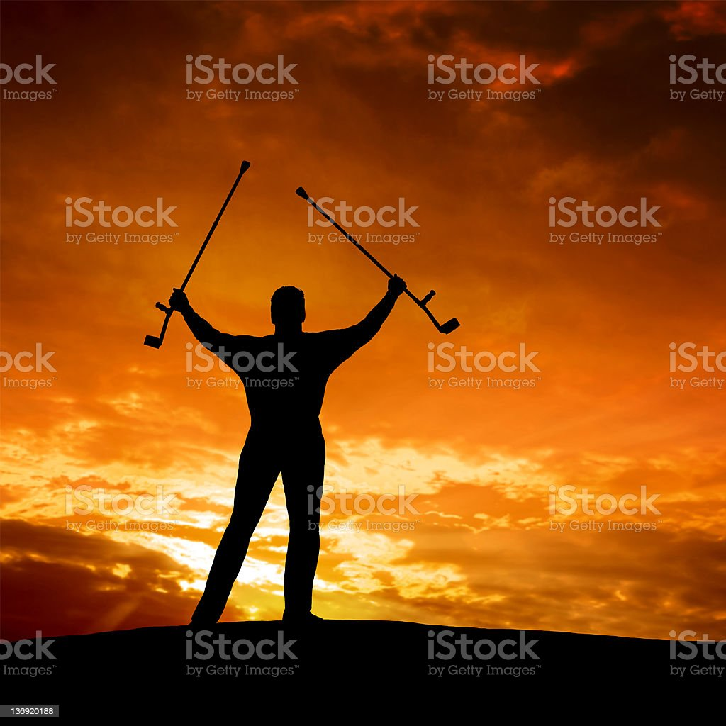 XXL triumphant disabled man royalty-free stock photo