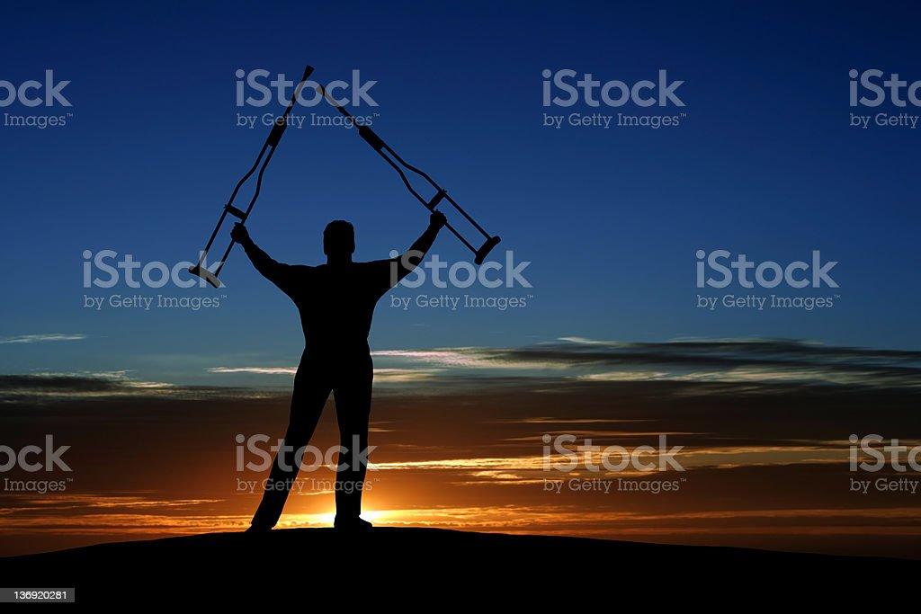 XXXL triumphant disabled man royalty-free stock photo