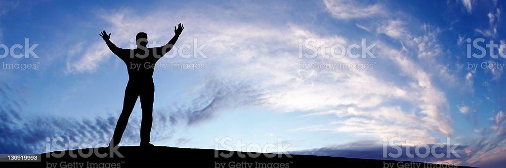XL triumphant man silhouette royalty-free stock photo