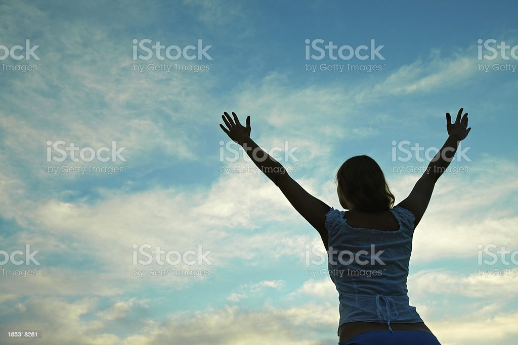 Triumphing girl royalty-free stock photo