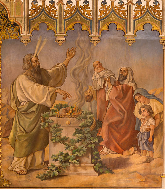 Trnava - Moses at Lord's Passover and offer of firstborns Trnava - The neo-gothic fresco of fhe scene as Moses at Lord's Passover and offer of the firstborns by Leopold Bruckner from end of 19. cent. in Saint Nicholas church. aisne stock pictures, royalty-free photos & images