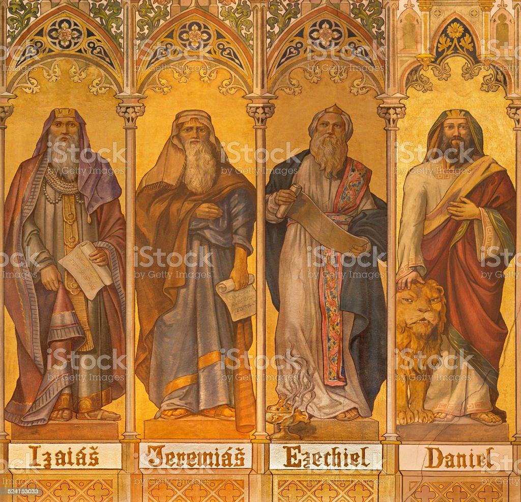 Trnava - neo-gothic fresco of prophets Isaiah, Jeremiah, Ezekiel, Daniel stock photo
