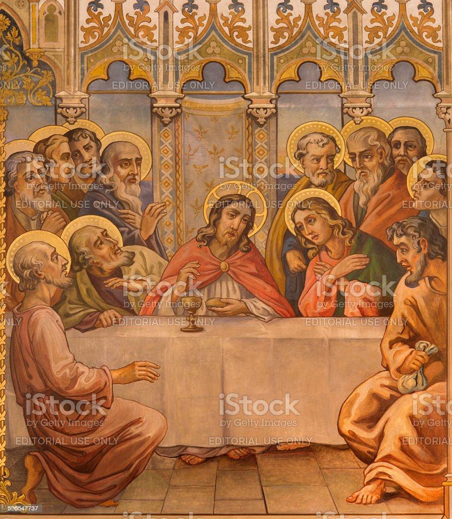 Trnava-das neogotische Fresko von fhe letzte Abendmahl – Foto