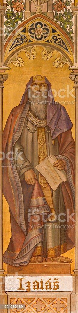 Trnava - The neo-gothic fresco of prophet Isaiah stock photo