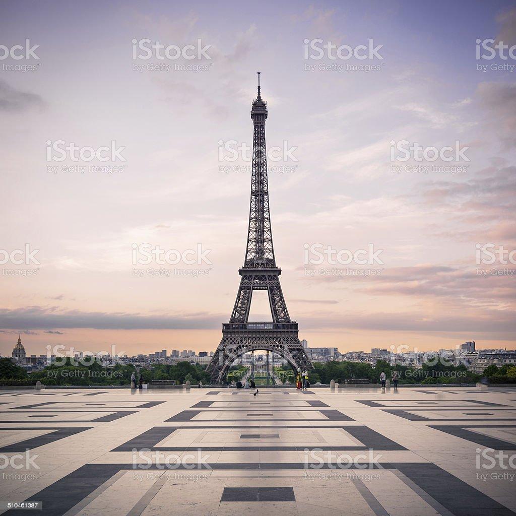 Trocadero and Eiffel Tower at sunshine. Paris, France. stock photo