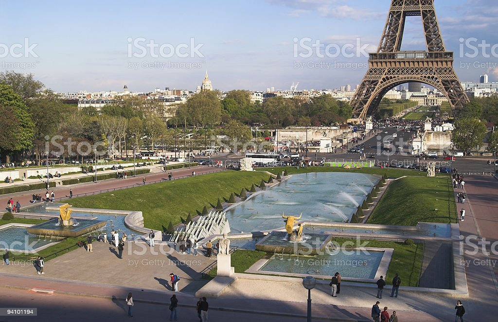 Trocadero gardens in afternoon, Paris, France stock photo