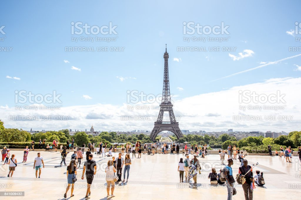 Trocadero place with Eiffel tower in Paris stock photo