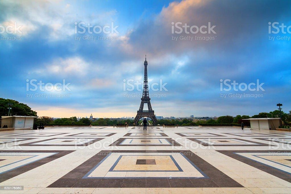 Trocadero sunrise cloudscape stock photo