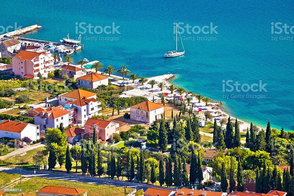 Trogir beach and tourist coast aerial view stock photo