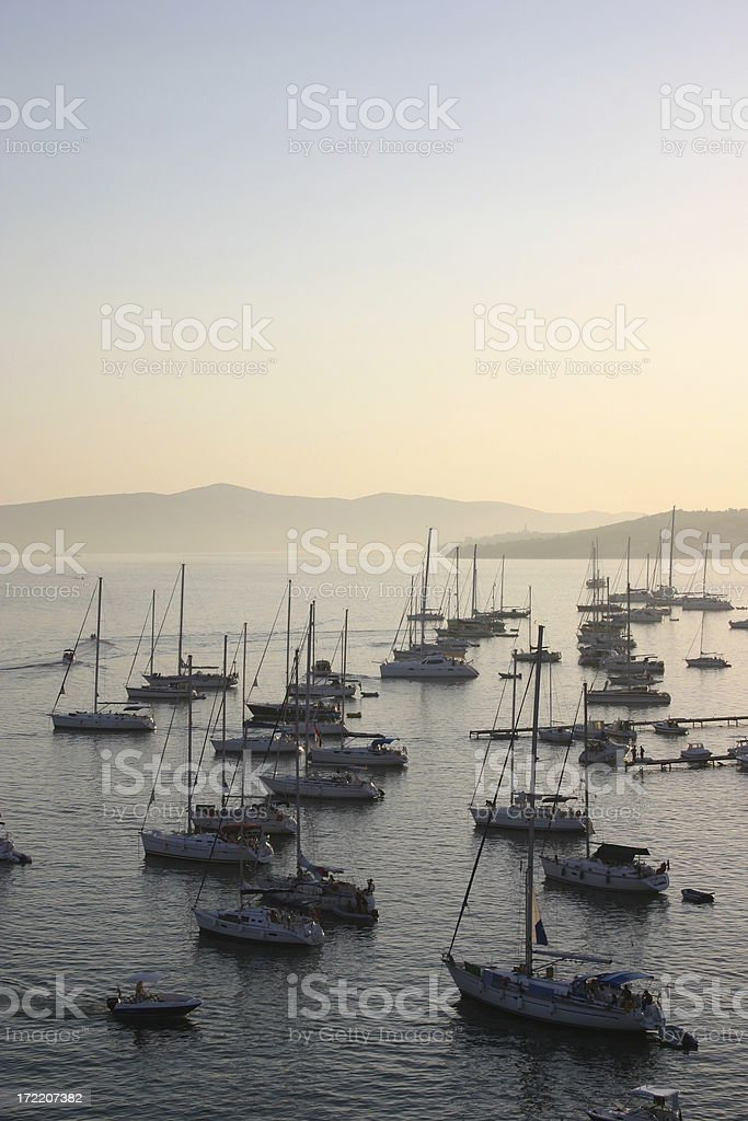 Trogir - Evening view on the tourist port royalty-free stock photo