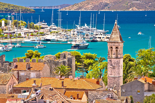 Trogir landmarks and turquoise sea view, UNESCO town in Dalmatia, Croatia