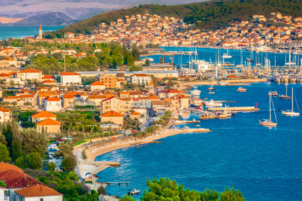 Trogir town cityscape aerial. Aerial view at town Trogir in Croatia, small tourist town in suburb of Split, Dalmatia region. croatian culture stock pictures, royalty-free photos & images