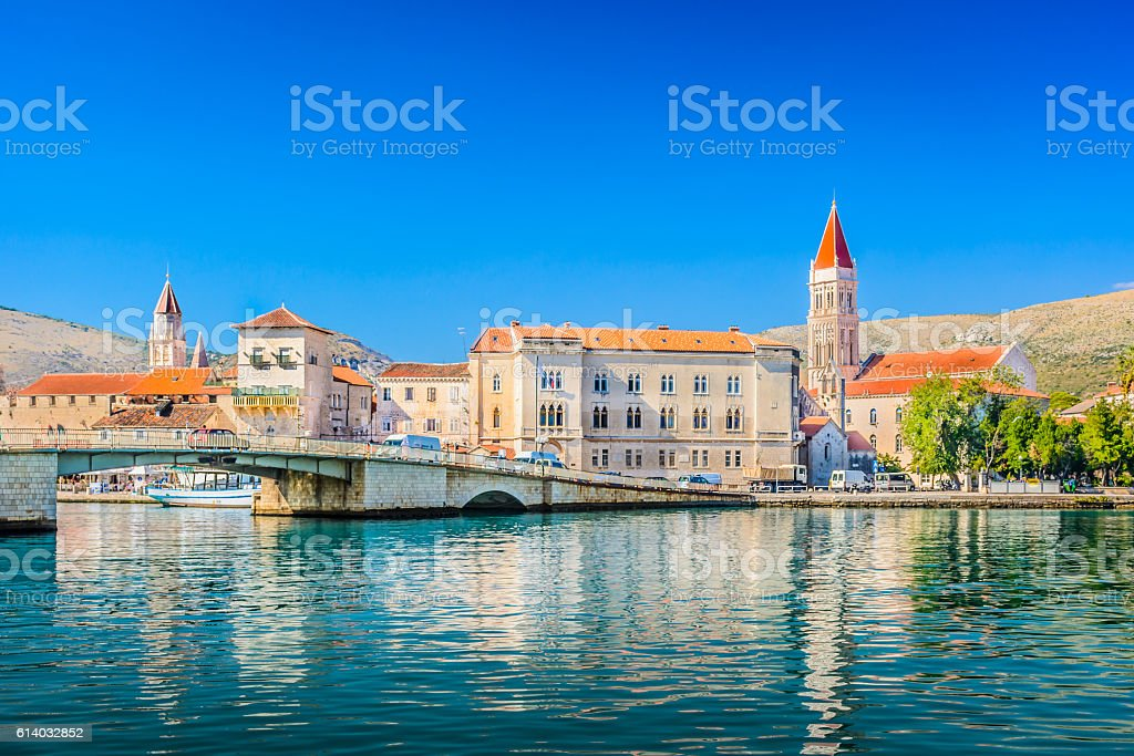 Trogir town coastal view. stock photo