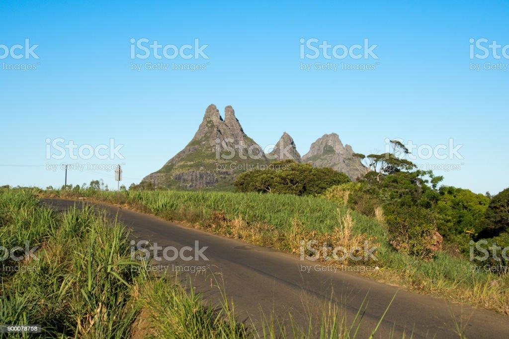 Trois Mamelles mountain, Mauritius stock photo