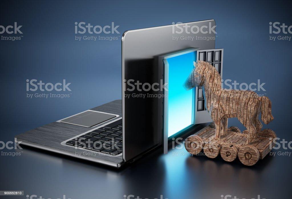 Trojanisches Pferd in Tür auf Laptop-computer – Foto