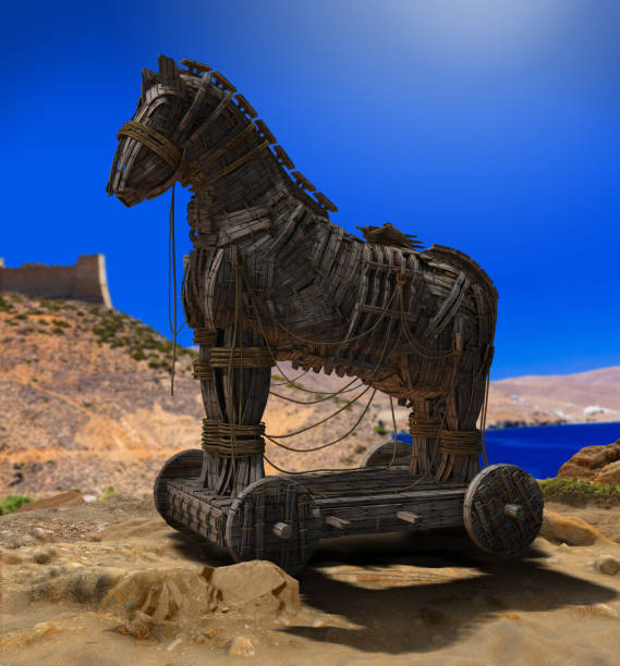 Trojan Horse in front of the Walls of Troy stock photo