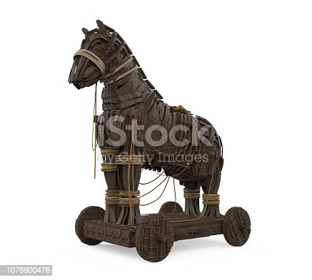 Trojan Horse isolated on white background. 3D render