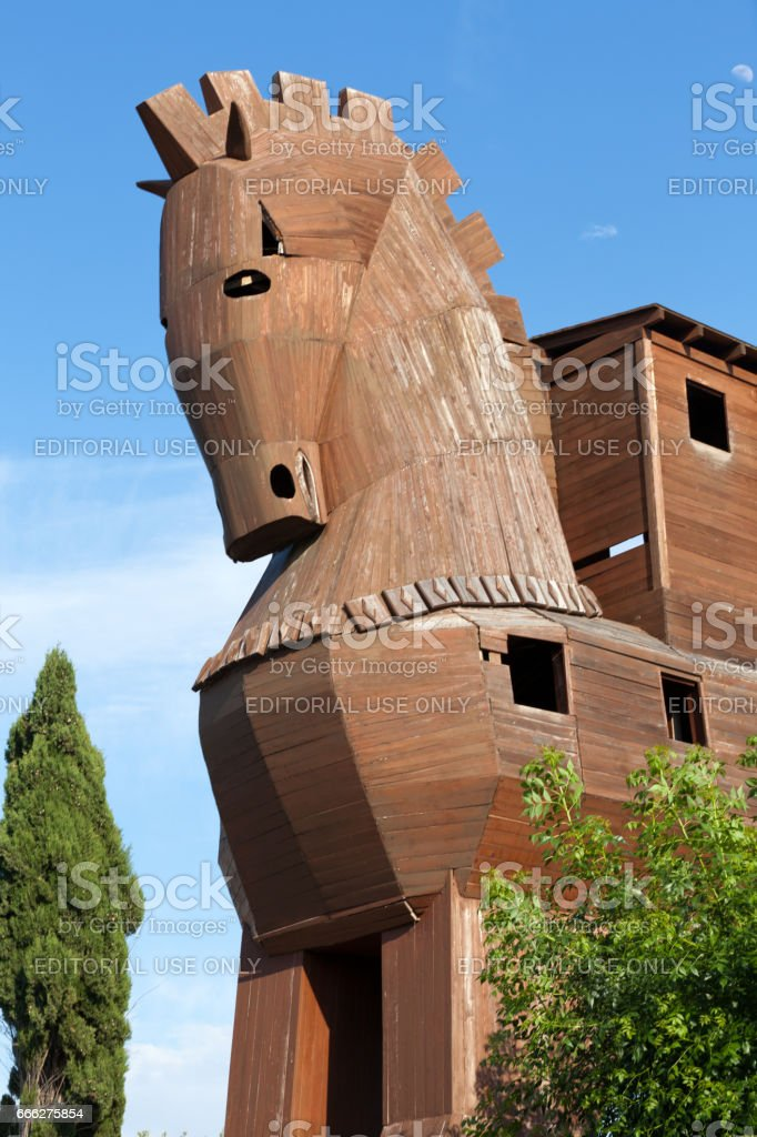 Trojan Horse located in Troy, Turkey stock photo