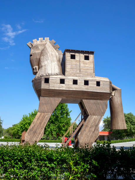 Trojan horse on place of ancient Troy in Canakkale (Dardanelles) / Turkey stock photo