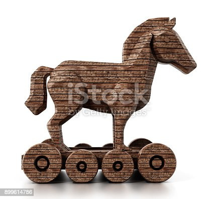 Generic trojan horse isolated on white.