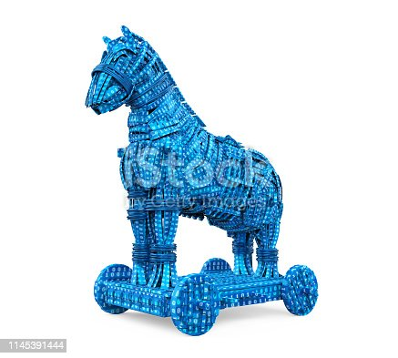 Trojan Horse with Binary Code isolated on white background. 3D render