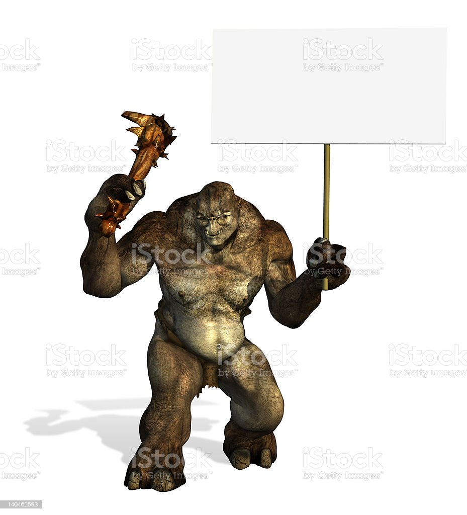Troll Holding a Blank Sign stock photo