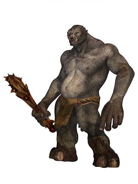 Troll in loincloth holding wooden club stock photo