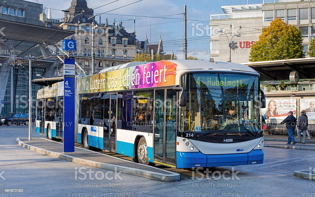 Trolley bus at the Lucerne railway station stock photo