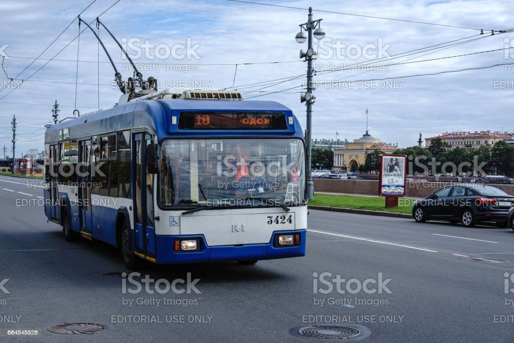 Trolley Bus, St. Petersburg, Russia stock photo