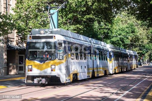 Trolley car in a city street