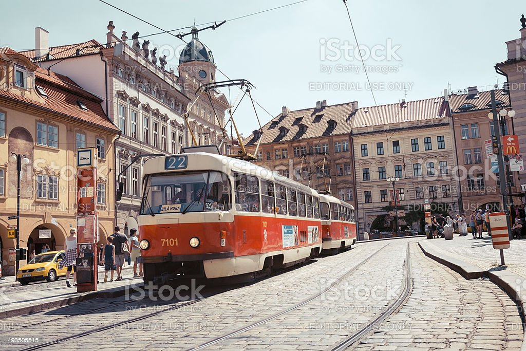 Trolley Car in Prague, Czech Republic royalty-free stock photo